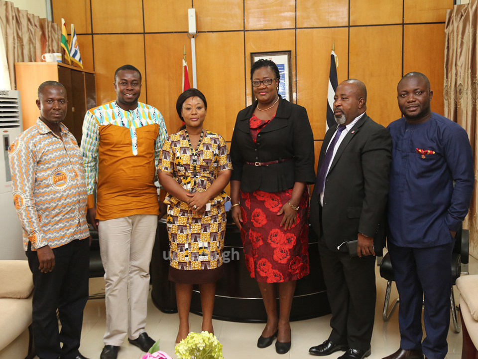 The GNPC representative, Mrs. Irene Asiama (3rd left) with the Pro Vice-Chancellor, Prof. Dora Edu-Buandoh and other officials of the University