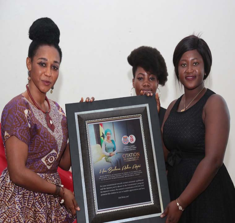 Presentation of the award to the Member of Parliament for Cape Coast North, Mrs. Barbara Asher Ayisi