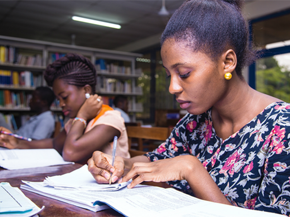Undergraduate students learning at the Sam Jona library