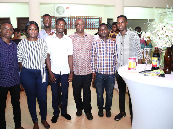 Some first class students with the Provost of the College of Humanities and Legal Studies