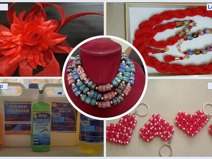 Liquid Soap, Local Beads, Weaving, Millinery Art