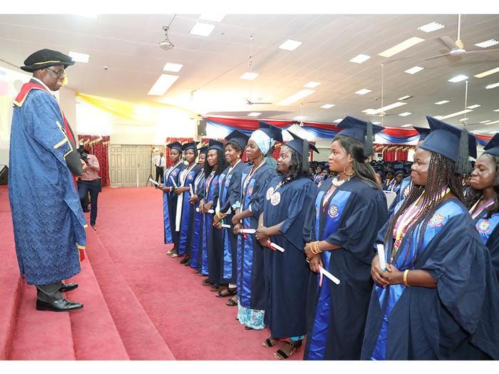 Vice-Chancellor, Prof. Joseph Ghartey Ampiah congratulating First Class graduates