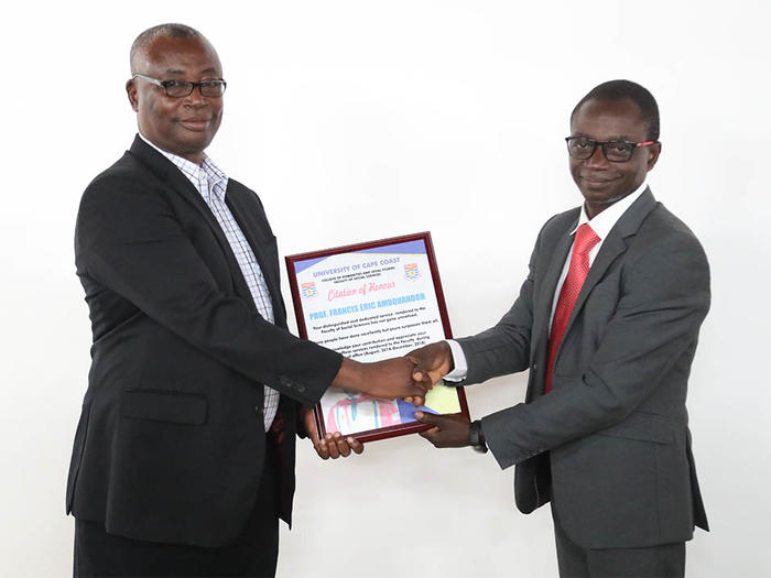 Presentation of citation to Prof. F. E. Amuquandoh
