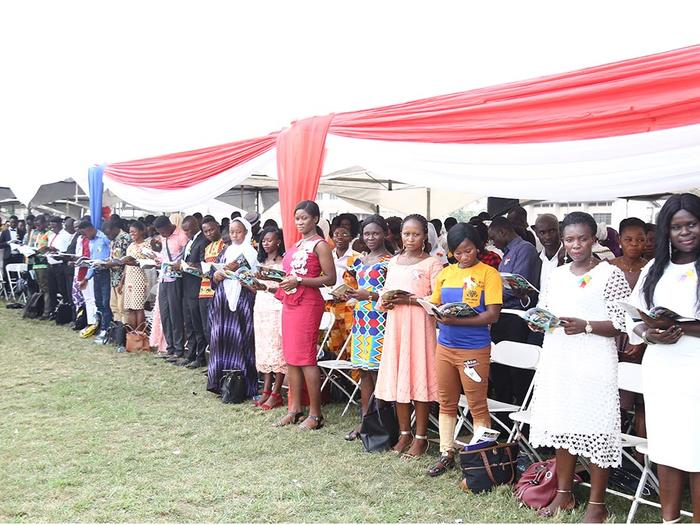 Matriculants swearing oath at the ceremony