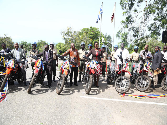 The dignitaries with the motorbikes