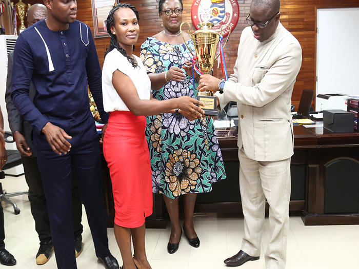 UCC Sports Team Presents trophies to Vice-Chancellor