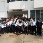 The exchange pupils and headteachers of the University Basic Schools with the Central Regional Minister, Mr. Kwamina Duncan